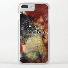 Psalm 23 Christian Inspired Abstract Art with Bible Verse Clear iPhone Case