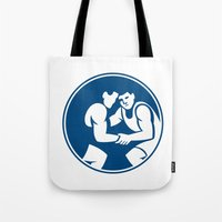 wrestling Tote Bags featuring Wrestlers Wrestling Circle Icon by patrimonio
