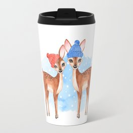 Fawns. Winter card Travel Mug