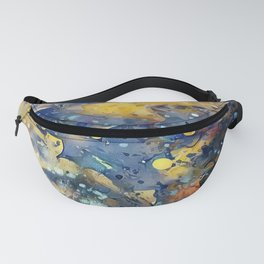 When Planets Align watercolor abstract by CheyAnne Sexton Fanny Pack
