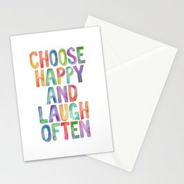 CHOOSE HAPPY AND LAUGH OFTEN rainbow watercolor Stationery Cards