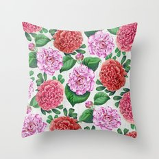 Camellia and Peonia pattern Throw Pillow