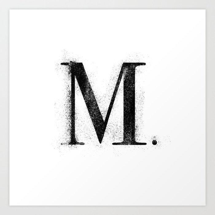 M. - Distressed Initial Kunstdrucke