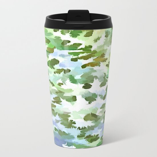 Foliage Abstract Pop Art In White Green and Powder Blue Metal Travel Mug