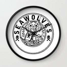 Sea Wolf Pirate Sailing Ship Circle Line Drawing Wall Clock