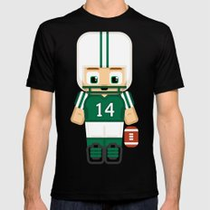American Football Green and White Black Mens Fitted Tee MEDIUM