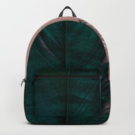 Powder pink and green feathers Backpack