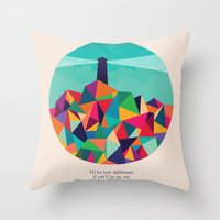 sayings Throw Pillows featuring I'll be your lighthouse if you'll be my sea by Picomodi