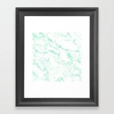 Trendy modern pastel mint green white marble pattern by Girly Trend Framed Art Print