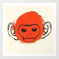 monkey Art Prints featuring Monkey by James White