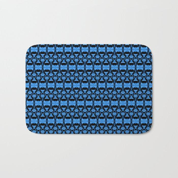 Dividers 02 in Blue over Black Bath Mat