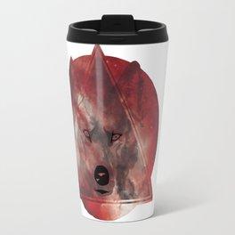 Wolf Head With Moon/Galaxy Design RED Travel Mug