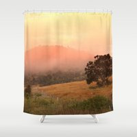 justin timberlake Shower Curtains featuring Early Fog In The Hills by Donuts