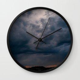Arizona Desert View Landscape Sunset and Rain Storm Wall Clock