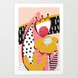 Collage Flowers pink, gold, white, black Art Print