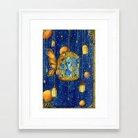 lanterns Framed Art Prints featuring Lanterns by Anca Chelaru