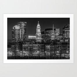 BOSTON Evening Skyline of North End & Financial District | Monochrome Art Print
