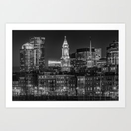 BOSTON Evening Skyline of North End & Financial District | Monochrome Art Print