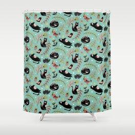 Folk Cats Shower Curtain