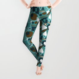 Abstract Geometric Shapes - Teal, Navy, Brown, White Leggings