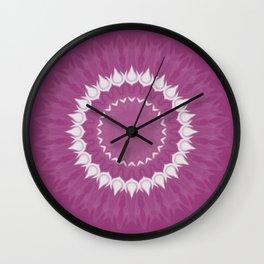Amethyst & White Gemstone Liquid White Smoke Kaleidoscope 2 Digital Painting Wall Clock