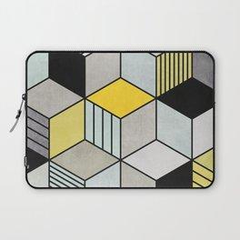 Colorful Concrete Cubes 2 - Yellow, Blue, Grey Laptop Sleeve