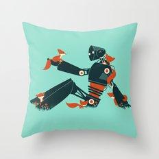 Foxes & The Robot Throw Pillow