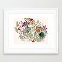 succulents Framed Art Prints featuring Succulents  by Hannah Margaret Illustrations