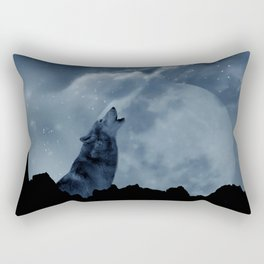Wolf howling at full moon Rectangular Pillow