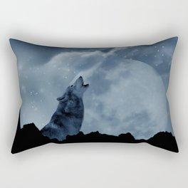 Wolf howling at full moon Rectangular Pillow