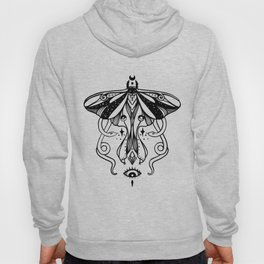 Luna Moth, Snakes, Third Eye, Witchy Illustration Hoody