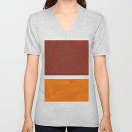 Burnt Sienna Yellow Ochre Rothko Minimalist Mid Century Abstract Color Field Squares Unisex V-Neck