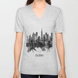 Dubai United Arab Emirates Skyline BW Unisex V-Neck
