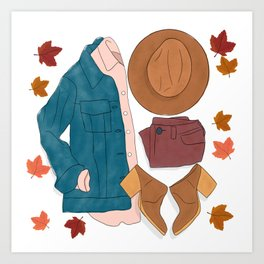 Sweater Weather flat lay drawing // autumn leaves, boots, hat, jean jacket Art Print