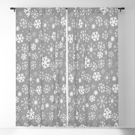 Snowflake Snowstorm In Silver Grey Blackout Curtain