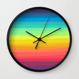 Rainbow abstract colorful Waves inspired Wall Clock