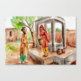 Punjabi village girls at the Well Canvas Print