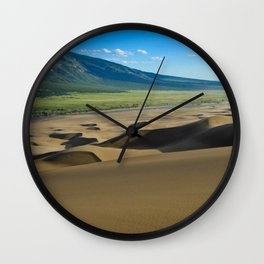 Great Sand Dunes against mountains Wall Clock