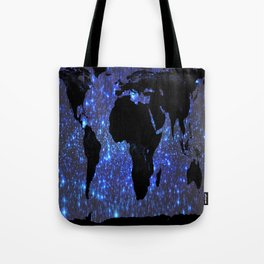 World Map : Blue Galaxy Stars Tote Bag