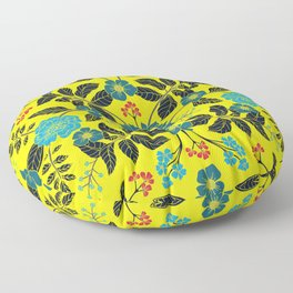Bright Yellow, Red, Turquoise & Navy Blue Floral Pattern Floor Pillow
