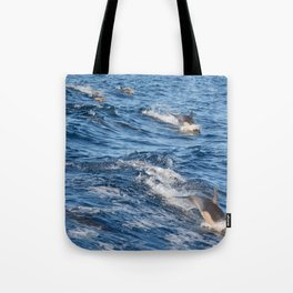 Dolphins Up and Down Tote Bag