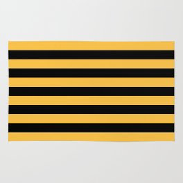 Yellow and Black Bumblebee Stripes Rug