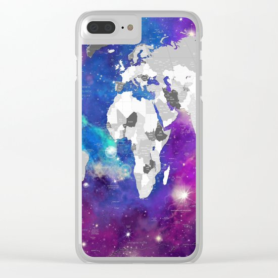 world map political galaxy 3 Clear iPhone Case