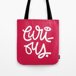 Just Curious - Red & White Tote Bag