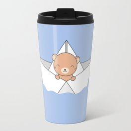 Kawaii Cute Brown Bear On A Boat Travel Mug