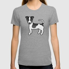 Black And White Smooth Coat Jack Russell Terrier Dog Cute Cartoon Illustration T-shirt