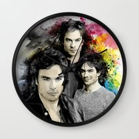 vampire diaries Wall Clocks featuring Inspired by Damon Salvatore and the Vampire Diaries by Purshue feat Sci Fi Dude
