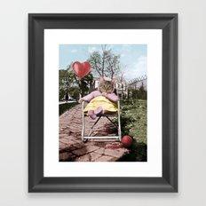 Pretty little Kitty with a heart balloon Framed Art Print