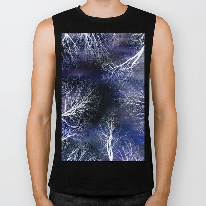 Abstract Midnight Trees Biker Tank