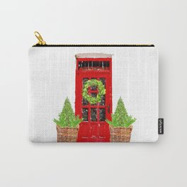 Red Christmas Door with Boxwood Wreath Carry-All Pouch